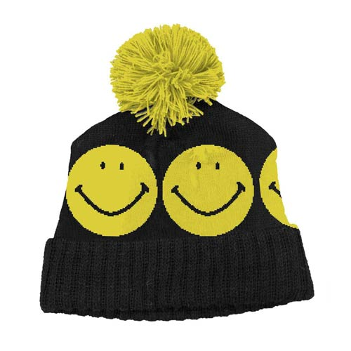 Smiley Face Retro Pom Beanie Hat