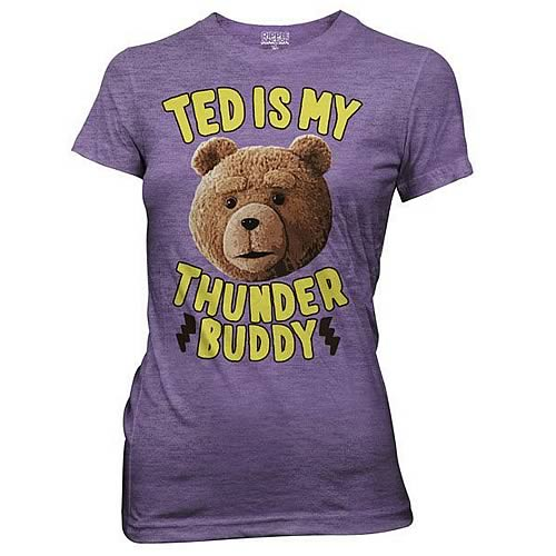 Ted Is My Thunder Buddy Juniors Purple T-Shirt