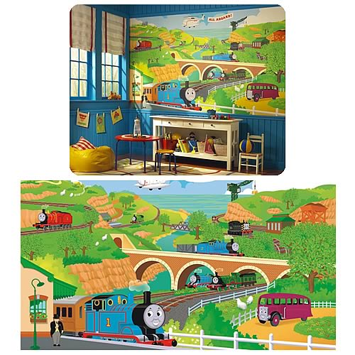 Awesome Thomas The Train Chair Rail Prepasted Mural Design