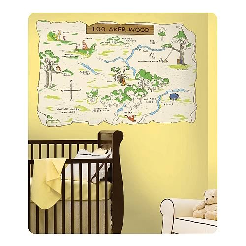 Winnie the pooh 100 acre wood peel and stick map for Classic winnie the pooh wall mural