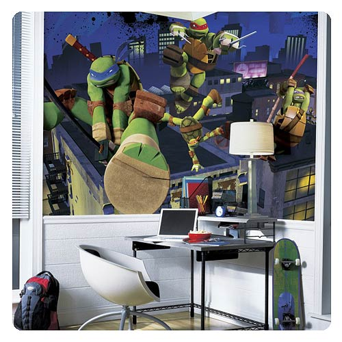 Tmnt Chair Rail Giant Ultra-strippable Prepasted Mural