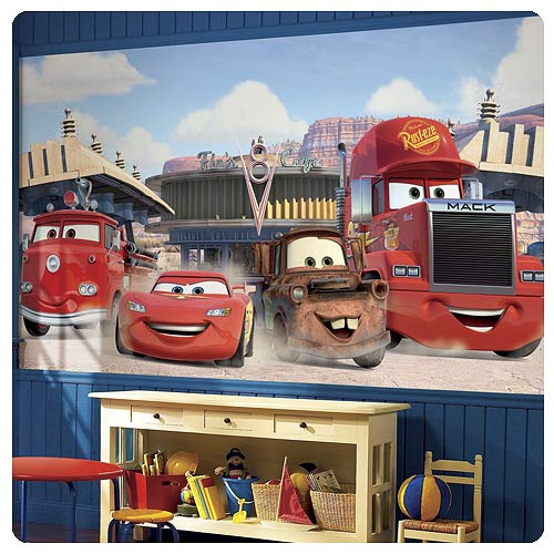 Disney cars friends to the finish full wall mural for Cars mural wallpaper