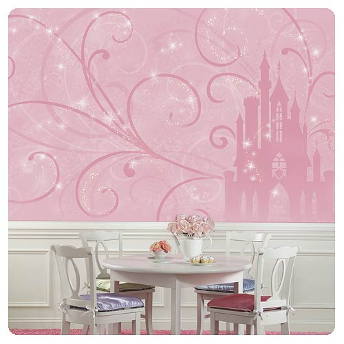 Disney princess scroll castle full wall mural roommates for Disney wall mural