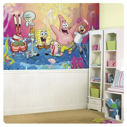 spongebob squarepants xl chair rail prepasted mural popular spongebob wall paper buy cheap spongebob wall