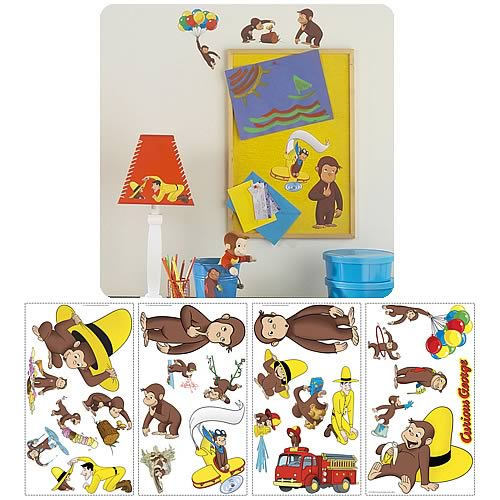 Curious george peel and stick wall applique roommates for Curious george mural