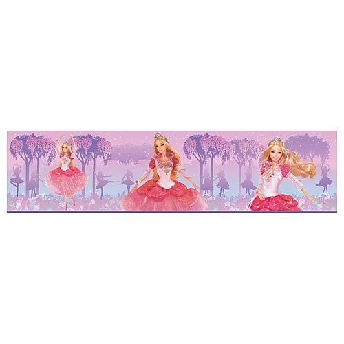 Barbie princess peel and stick border applique roommates for Barbie wall mural