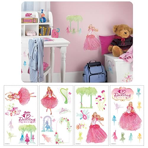 Barbie princess peel and stick wall applique roommates for Barbie wall mural