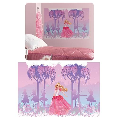 Barbie princess peel and stick giant mural roommates for Barbie princess giant wall mural