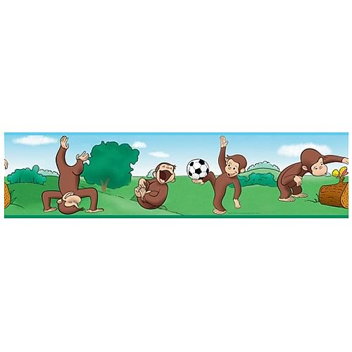 Curious george peel and stick border applique roommates for Curious george mural