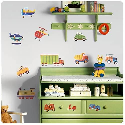 Transportation Peel and Stick Wall Appliques