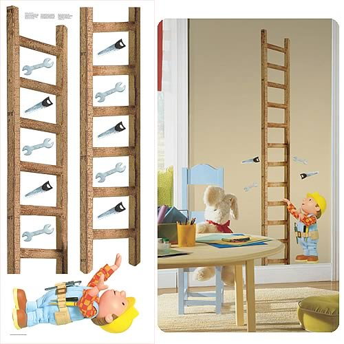 Bob the builder peel and stick growth chart roommates for Bob the builder wall mural