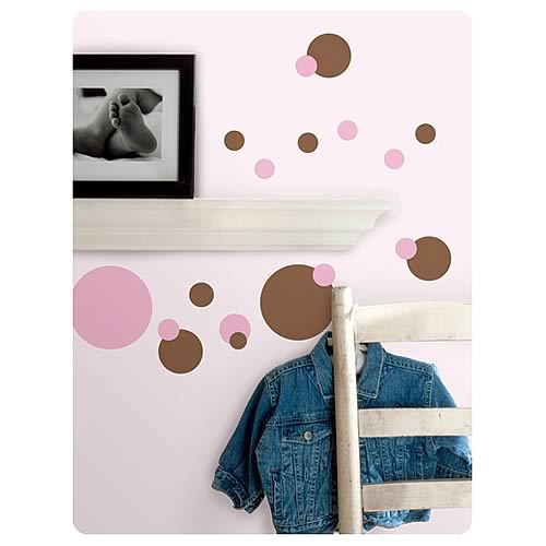 Just Dots Pink and Brown Peel and Stick Wall Appliques