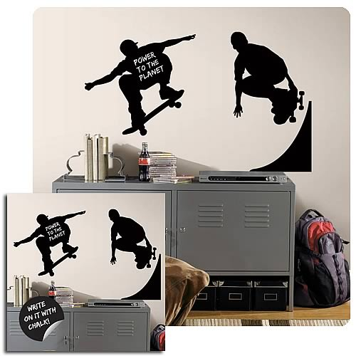 Chalkboard Skaters Peel and Stick Chalkboard Wall Appliques