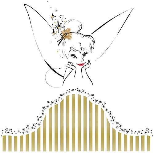 Disney fairies tinkerbell headboard giant wall decal for Disney tinkerbell mural