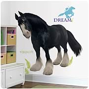Brave Angus Horse Peel-and-Stick Giant Wall Decal