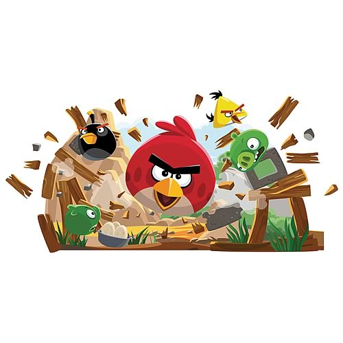 Angry birds peel and stick giant wall decals roommates for Angry bird wall mural