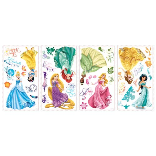 Disney princesses royal debut peel and stick wall decals for Disney princess mural stickers