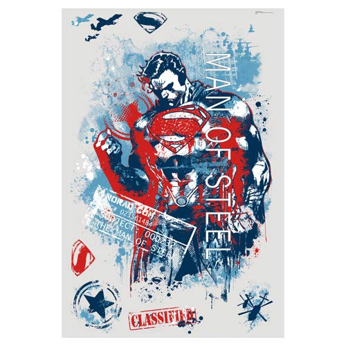 Superman Man of Steel Distressed Graphic Giant Wall Decals