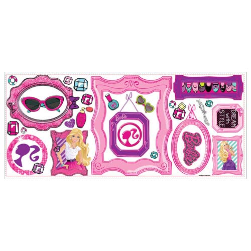 Barbie 39 s fabulous frames peel and stick giant wall decals for Barbie princess giant wall mural