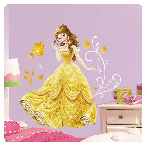 Disney princess belle giant wall decal roommates for Barbie princess giant wall mural