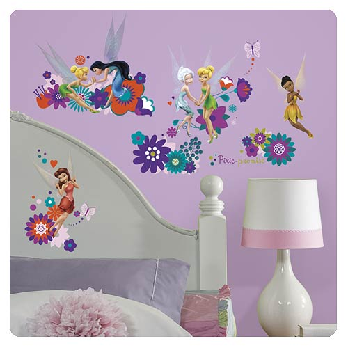 Disney fairies best fairy friends peel and stick wall for Disney fairies wall mural