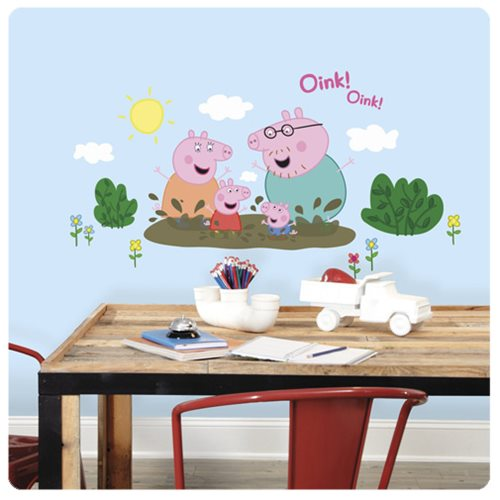 Peppa Pig and Family Muddy Puddles Giant Wall Decals