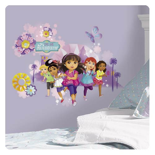 Dora and friends peel and stick wall graphix giant decal for Dora wall mural