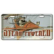 Steampunk Steam Powered Metal License Plate