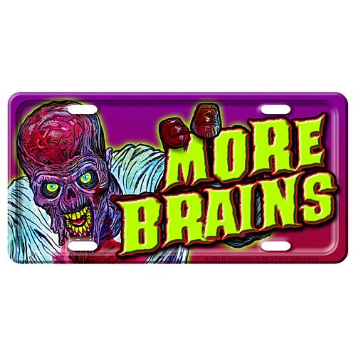 Zombie More Brains Metal License Plate