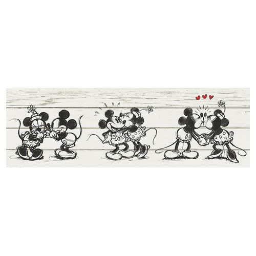 Mickey Mouse And Minnie Barnwood Kiss Stretched Canvas ...