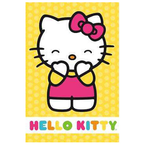 Hello Kitty Yellow Polka Dot Stretched Canvas Print