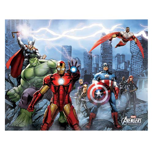Avengers City Stretched Canvas Print