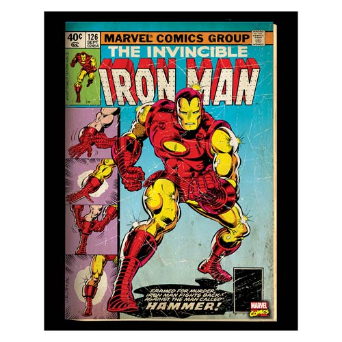 Iron-Man Hammer Marvel Comic Cover Stretched Canvas Print