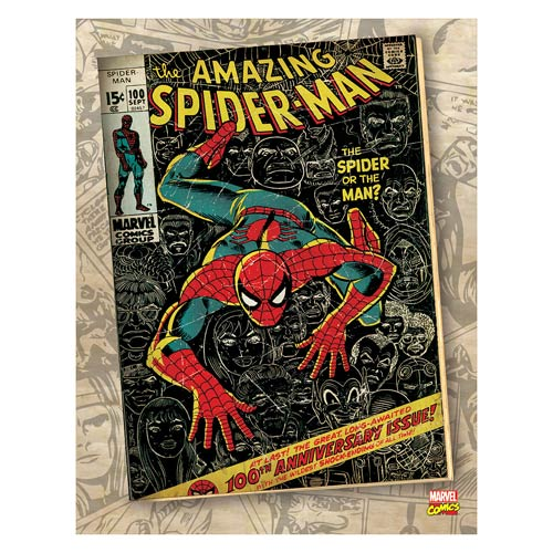 Spider-Man Spider or Man Comic Cover Stretched Canvas Print