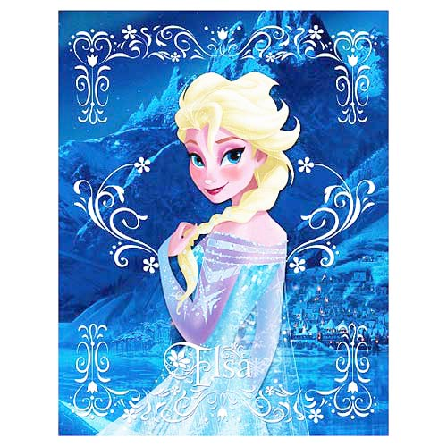 Frozen Elsa Crystal-Blue Background Stretched Canvas Print