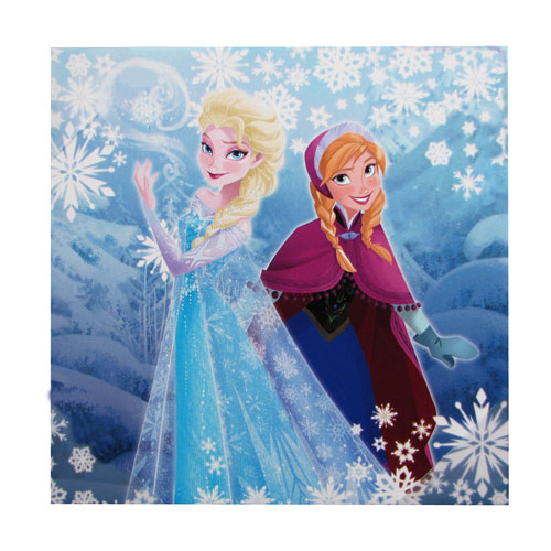 Disney Frozen Elsa Anna Snowflakes Stretched Canvas Print