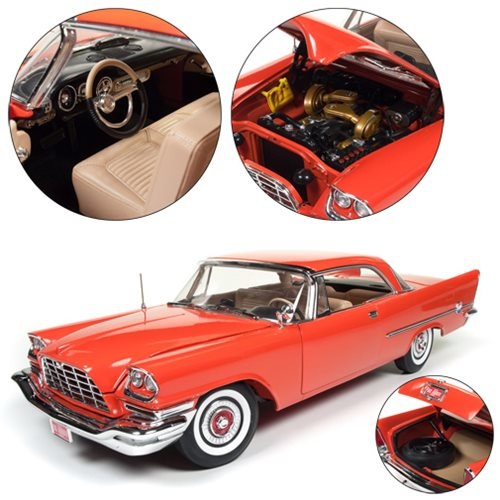 The 1957 Chrysler 300C Hardtop 1:18 Scale Die-Cast Vehicle comes packaged in a window collector box. The highly detailed die-cast vehicle comes in Gauguin Red color.