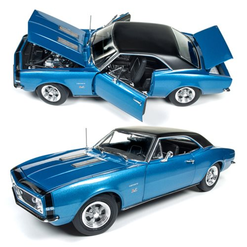 Celebrate the 50th anniversary of the 1967 Camaro Hardtop SS with this Die-Cast Metal Vehicle! Auto World faithfully reproduces this Baldwin Motion supercar featured in Marina Blue. This 1:18 scale vehicle features an extremely accurate exterior and interior, the doors open to show the detailed interior, and the hood and the trunk opens! This 1967 Camaro Hardtop SS 50th Anniversary Die-Cast Metal Vehicle is made with high quality metal and is great for die-cast collectors and fans of Camaros. Ages 14 and up.