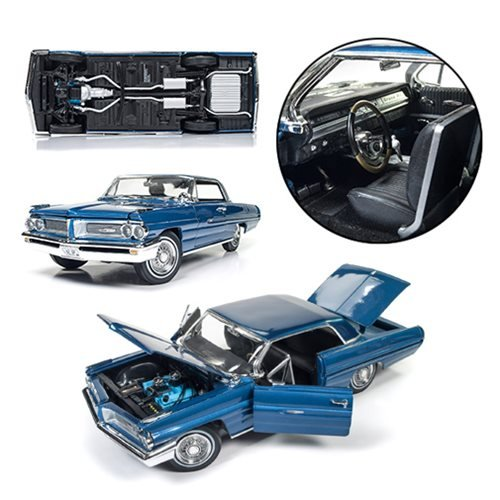 Fresh from the 1962 showroom floor. 1:18 scale die-cast metal Pontiac Grand Prix! Features an incredibly detailed black interior and engine. Boasts operating doors, trunk, and hood, and much more! The first Pontiac Grand Prix was released in 1962 and was based on the Catalina coupe. Updated with less chrome trim, a stylized grill, and distinctive headlights, this classic car made sure to meet performance and luxury expectations. Here, showcased in the Ensign Blue color, this amazing 1962 Pontiac Grand Prix 1:18 Scale Die-Cast Metal Vehicle features an incredibly detailed black interior and engine; operating doors, trunk, and hood; and much more!