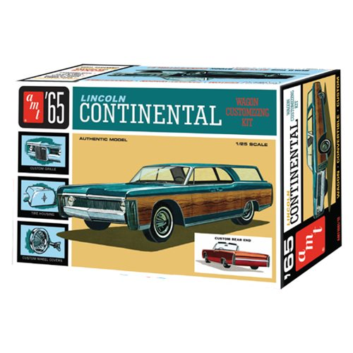 Add some fresh excitement to the '65 Lincoln Continental with this 1:25 scale model kit! This kit includes two different sets of exclusive wood-grain panel options that'll really make your build stand out. Enjoy original customizing parts like wheels, grille, accessories and even a tinted window option! This 1965 Lincoln Continental 1:25 Scale Model Kit requires paint and cement (not included) and comes in retro Deluxe vintage-style packaging