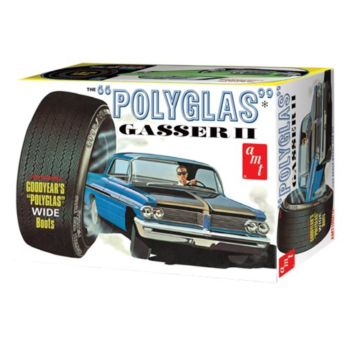 The folks from AMT have reimagined the '62 Catalina Polyglass Gasser in this 1:25 model kit! This version boasts super-detailed and accurate parts made from modern tooling. It combines all the standard and custom features from two previously separate models into one kit! This model kit include interior, side pipe and front grille customizing options, 2x sets of wheels, and an expanded decal sheet with remastered original graphics. As a bonus, you'll also get a mini parts pack with 4x solid vinyl Goodyear Polyglass Custom Wide Tread tires with a red pinstripe! Molded in white, this 1962 Pontiac Catalina Poluglas Gasser II 1:25 Scale Model Kit requires paint and cement (not included) and comes in retro deluxe packaging.