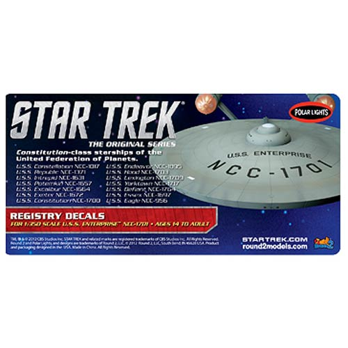 Star Trek USS Enterprise 1701 1:350 Scale Registry Decals