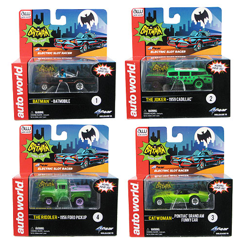Batman 1966 TV Series 1:64 Scale Slot Car Vehicle Set