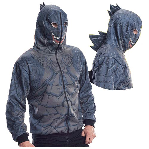 Godzilla Zip-Up Hoodie with Spikes
