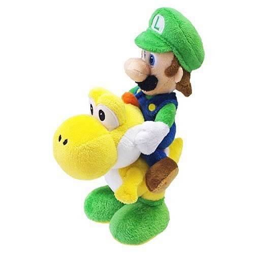 Super Mario Luigi Riding on Yoshi 8-Inch Plush