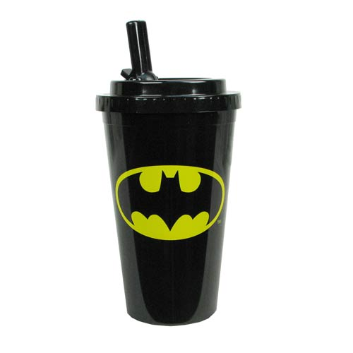 Batman Logo Plastic 16 oz. Flip-Straw Travel Cup