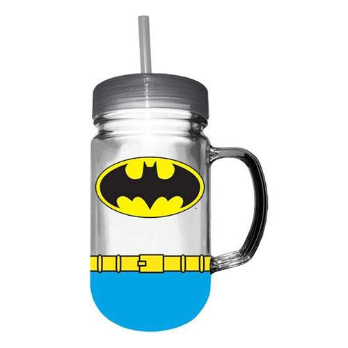 Batman Uniform 24 oz. Plastic Mason Jar