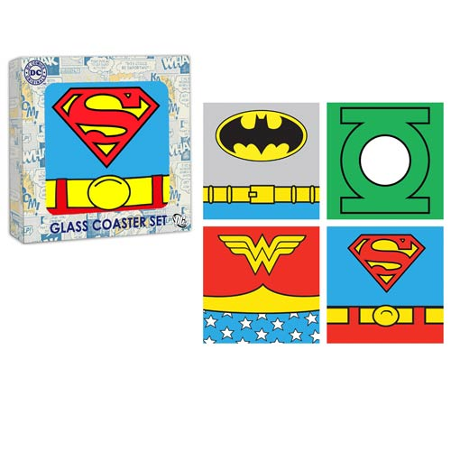 DC Heroes Uniform Glass Coaster 4-Pack