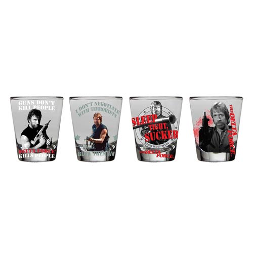 Delta Force Chuck Norris Shot Glass 4-Pack