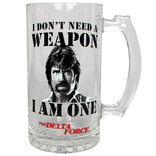 Delta Force Chuck Norris Glass Stein